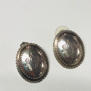 Sterling silver oval earrings LL marked